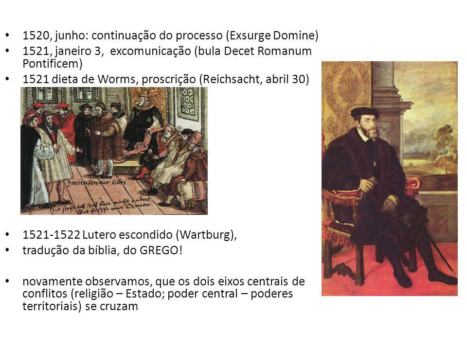 1520, junho: continuação do processo (Exsurge Domine) 1521, janeiro 3, excomunicação (bula Decet Romanum Pontificem) 1521 dieta de Worms, proscrição (