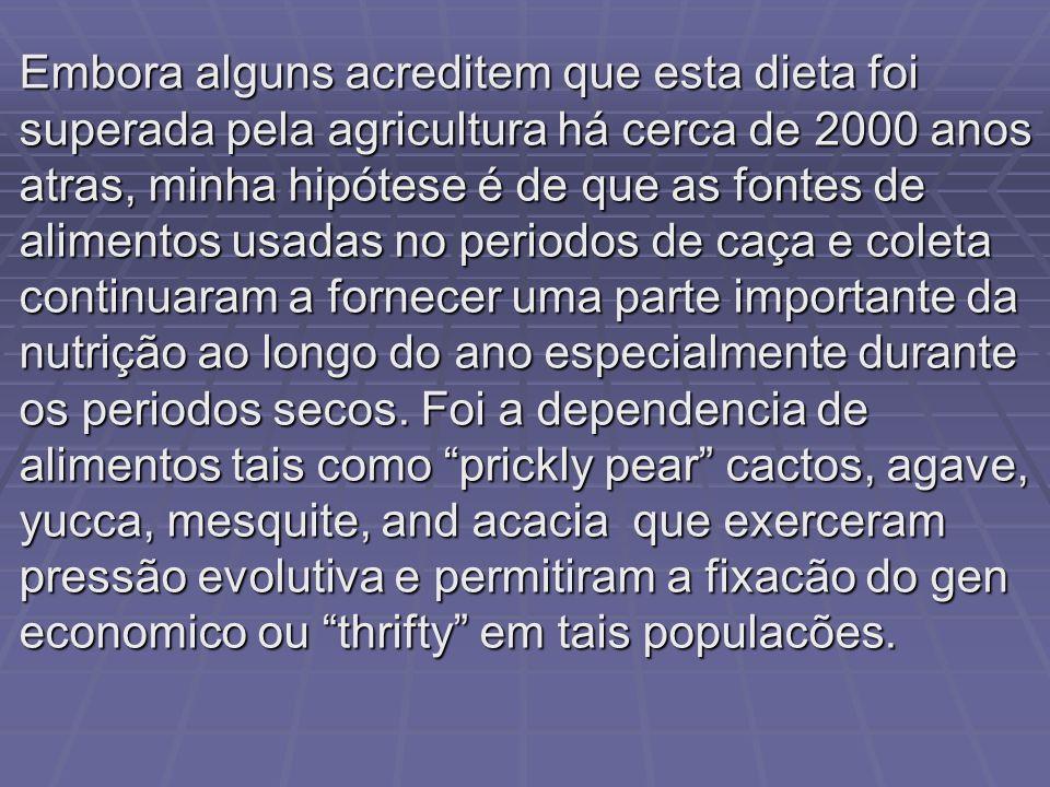 Embora alguns acreditem que esta dieta foi superada pela agricultura há cerca de 2000 anos atras, minha hipótese é de que as fontes de alimentos usada