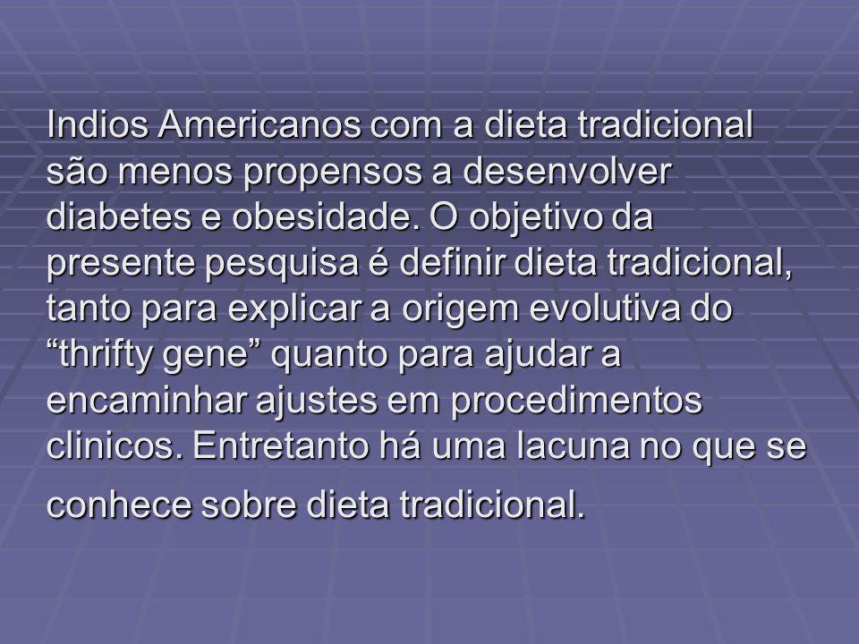 Indios Americanos com a dieta tradicional são menos propensos a desenvolver diabetes e obesidade. O objetivo da presente pesquisa é definir dieta trad