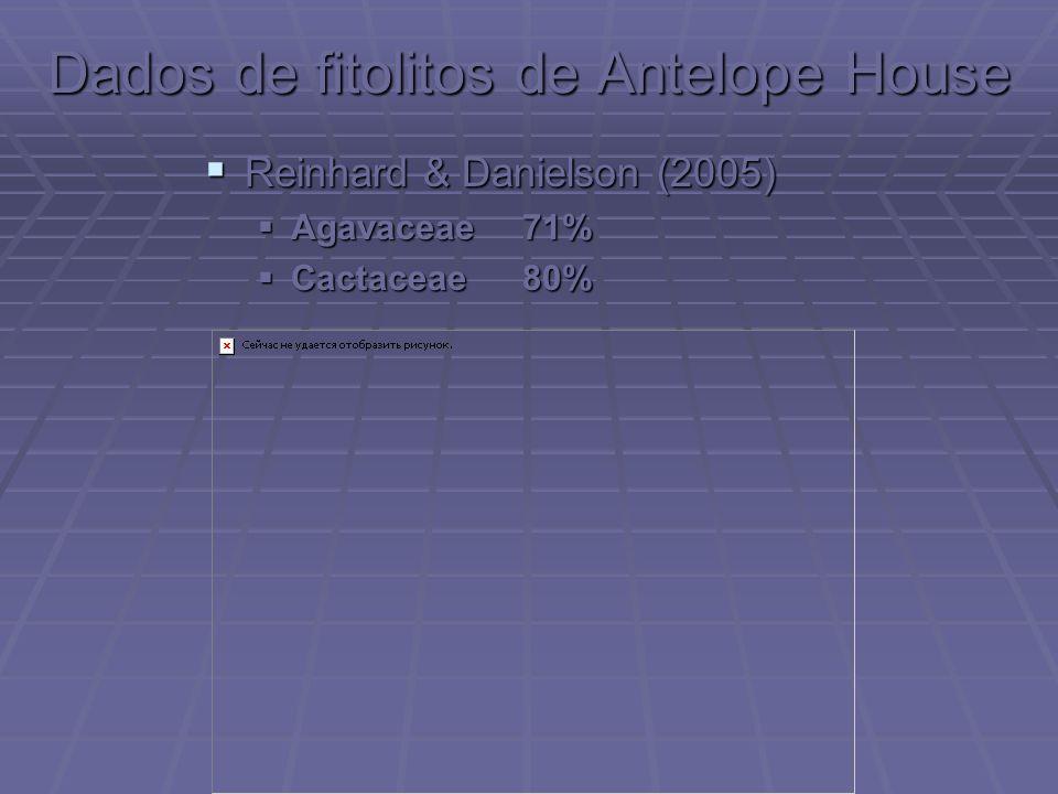Dados de fitolitos de Antelope House Reinhard & Danielson (2005) Reinhard & Danielson (2005) Agavaceae71% Agavaceae71% Cactaceae80% Cactaceae80%