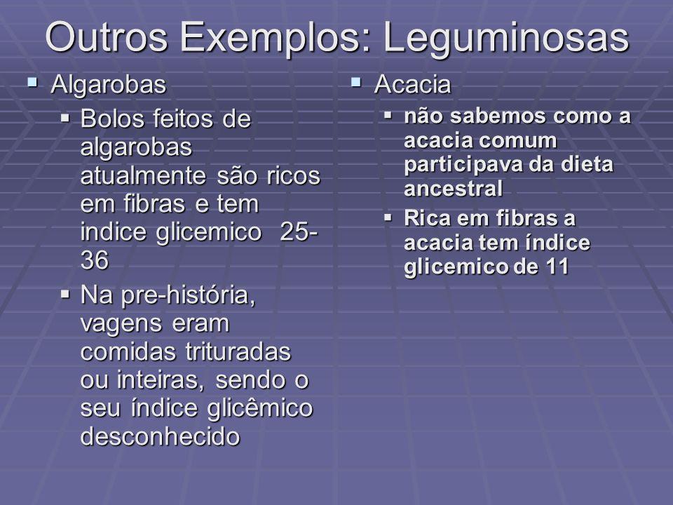 Outros Exemplos: Leguminosas Algarobas Algarobas Bolos feitos de algarobas atualmente são ricos em fibras e tem indice glicemico 25- 36 Bolos feitos d