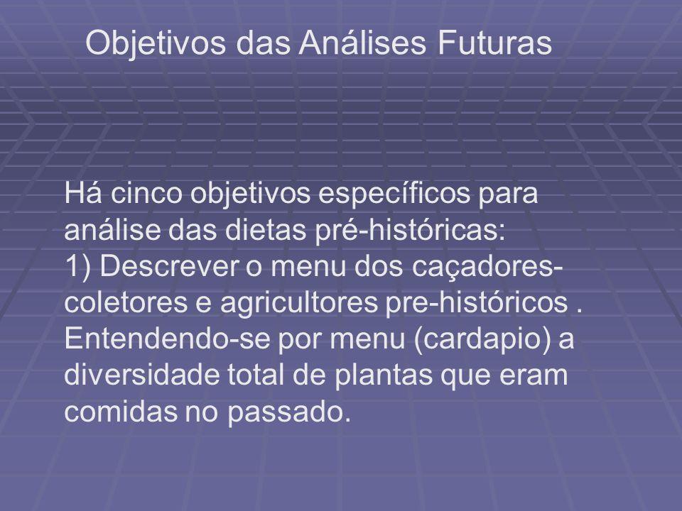 Há cinco objetivos específicos para análise das dietas pré-históricas: 1) Descrever o menu dos caçadores- coletores e agricultores pre-históricos. Ent