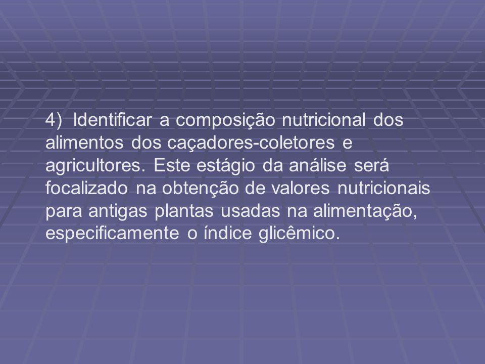 4) Identificar a composição nutricional dos alimentos dos caçadores-coletores e agricultores. Este estágio da análise será focalizado na obtenção de v