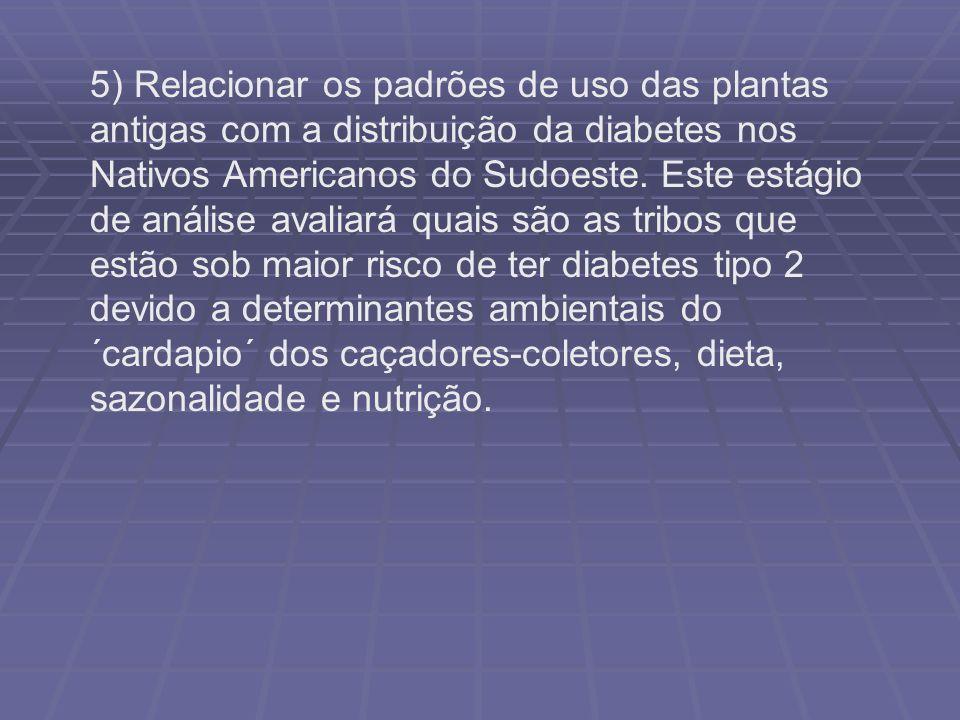 5) Relacionar os padrões de uso das plantas antigas com a distribuição da diabetes nos Nativos Americanos do Sudoeste. Este estágio de análise avaliar
