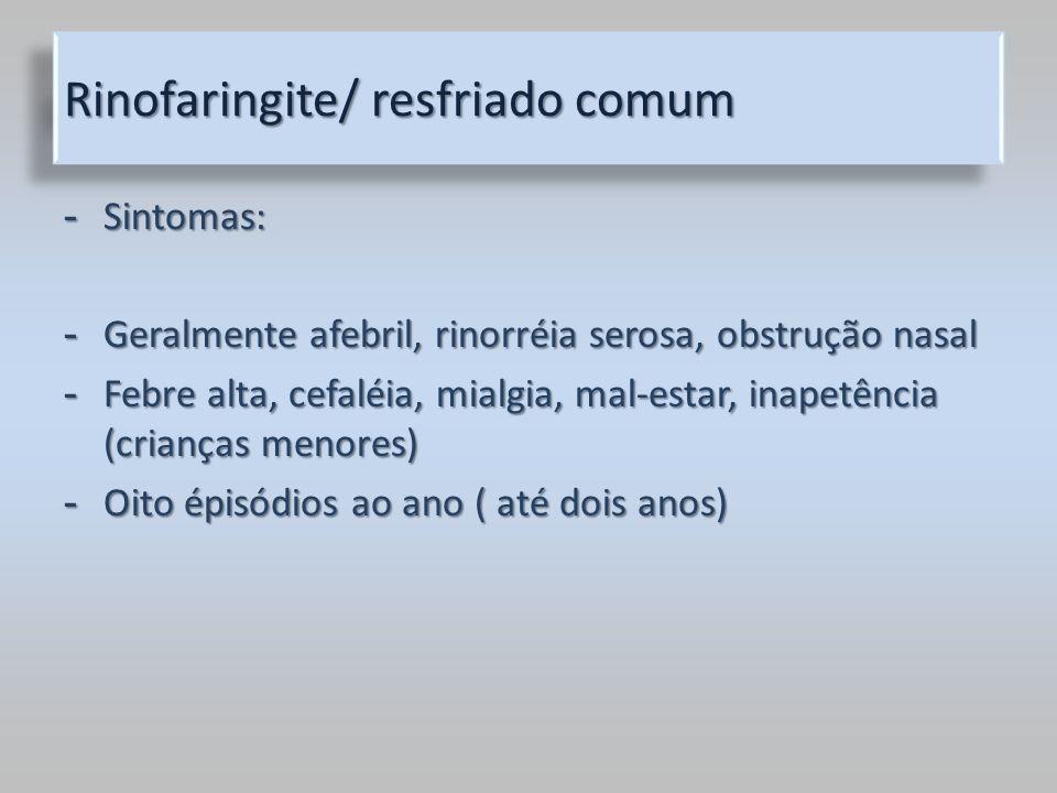 Rinofaringite/ resfriado comum - Sintomas: - Geralmente afebril, rinorréia serosa, obstrução nasal - Febre alta, cefaléia, mialgia, mal-estar, inapetê