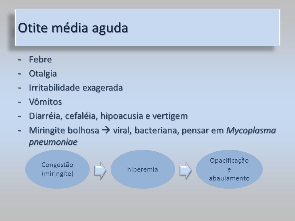 Otite média aguda - Febre - Otalgia - Irritabilidade exagerada - Vômitos - Diarréia, cefaléia, hipoacusia e vertigem - Miringite bolhosa viral, bacter