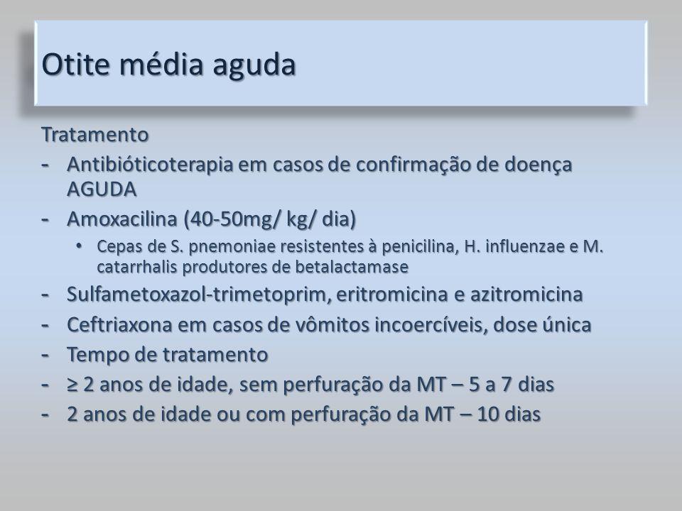 Otite média aguda Tratamento - Antibióticoterapia em casos de confirmação de doença AGUDA - Amoxacilina (40-50mg/ kg/ dia) Cepas de S. pnemoniae resis