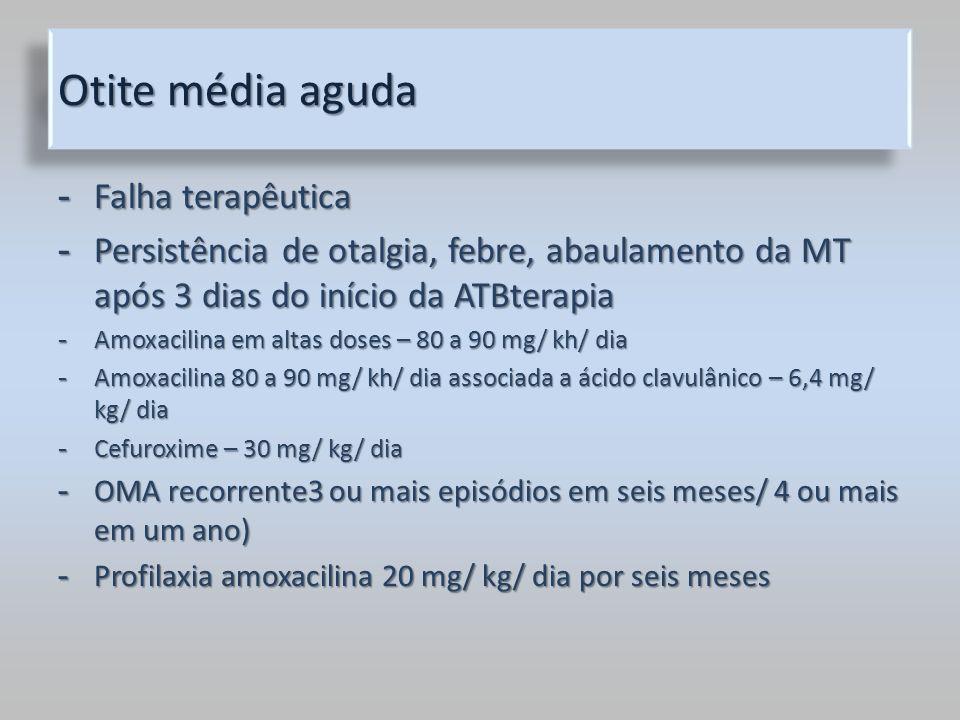 Otite média aguda - Falha terapêutica - Persistência de otalgia, febre, abaulamento da MT após 3 dias do início da ATBterapia - Amoxacilina em altas d