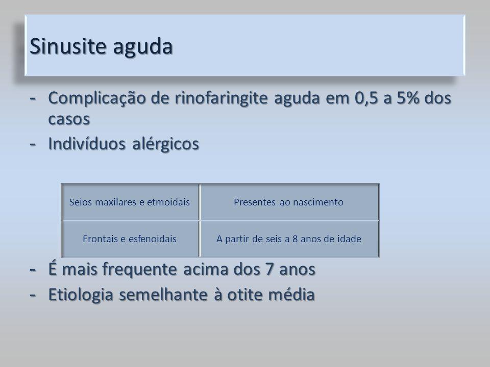 Sinusite aguda - Complicação de rinofaringite aguda em 0,5 a 5% dos casos - Indivíduos alérgicos - É mais frequente acima dos 7 anos - Etiologia semel