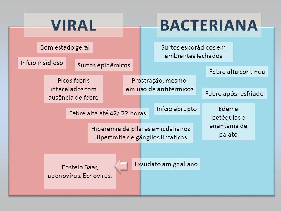Surtos epidêmicos Febre alta até 42/ 72 horas Picos febris intecalados com ausência de febre Surtos esporádicos em ambientes fechados Prostração, mesm