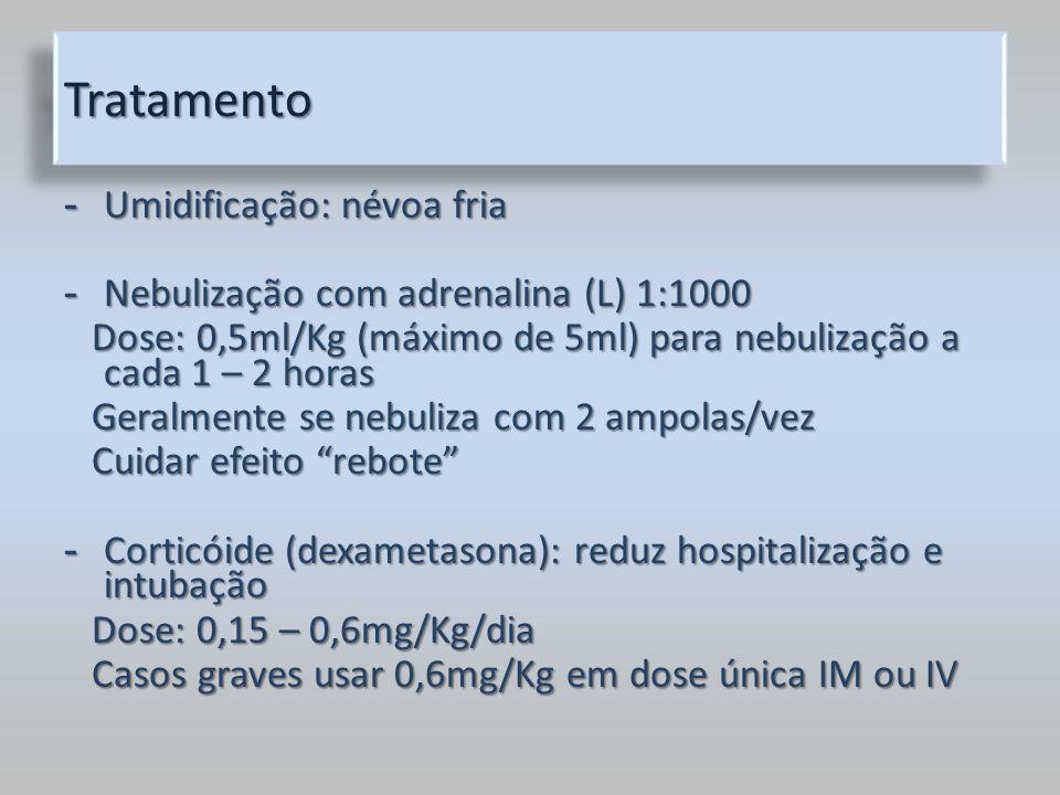 TratamentoTratamento - Umidificação: névoa fria - Nebulização com adrenalina (L) 1:1000 Dose: 0,5ml/Kg (máximo de 5ml) para nebulização a cada 1 – 2 h