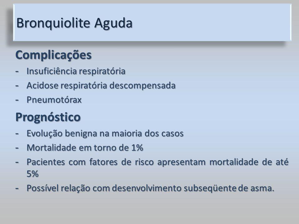 Bronquiolite Aguda Complicações - Insuficiência respiratória - Acidose respiratória descompensada - Pneumotórax Prognóstico - Evolução benigna na maio