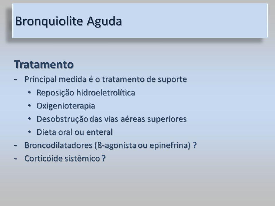 Bronquiolite Aguda Tratamento - Principal medida é o tratamento de suporte Reposição hidroeletrolítica Reposição hidroeletrolítica Oxigenioterapia Oxi