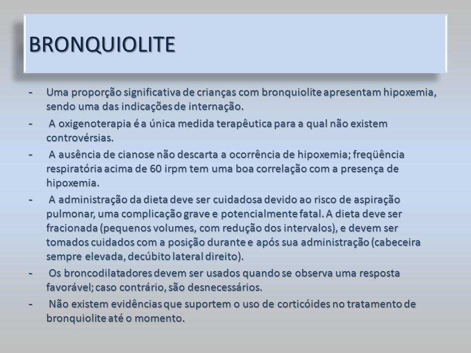 BRONQUIOLITEBRONQUIOLITE - Uma proporção significativa de crianças com bronquiolite apresentam hipoxemia, sendo uma das indicações de internação. - A