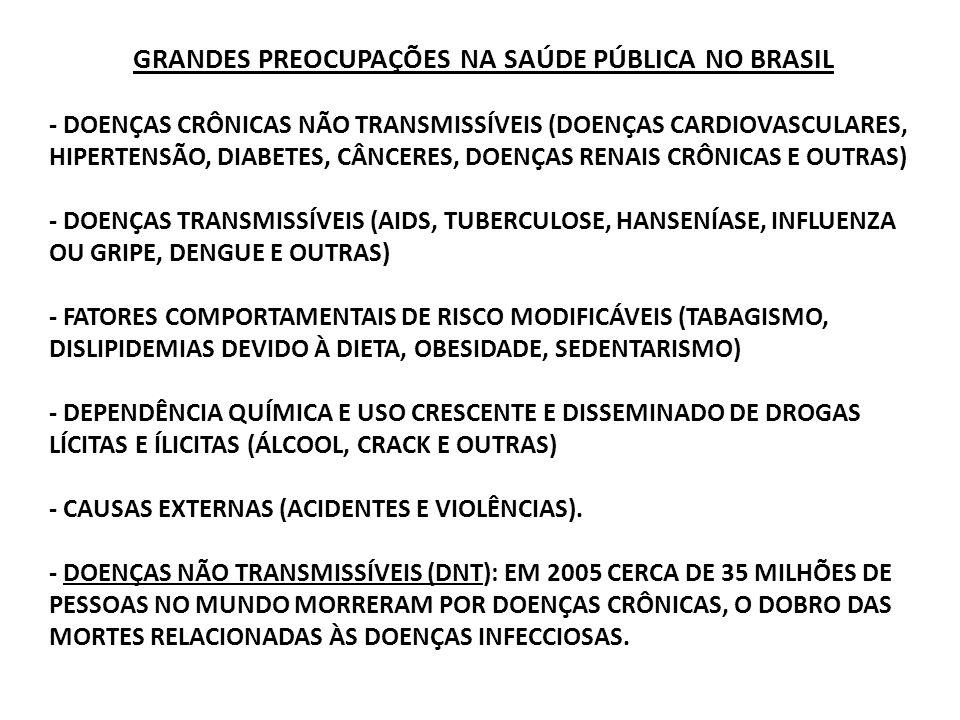GRANDES PREOCUPAÇÕES NA SAÚDE PÚBLICA NO BRASIL - DOENÇAS CRÔNICAS NÃO TRANSMISSÍVEIS (DOENÇAS CARDIOVASCULARES, HIPERTENSÃO, DIABETES, CÂNCERES, DOEN