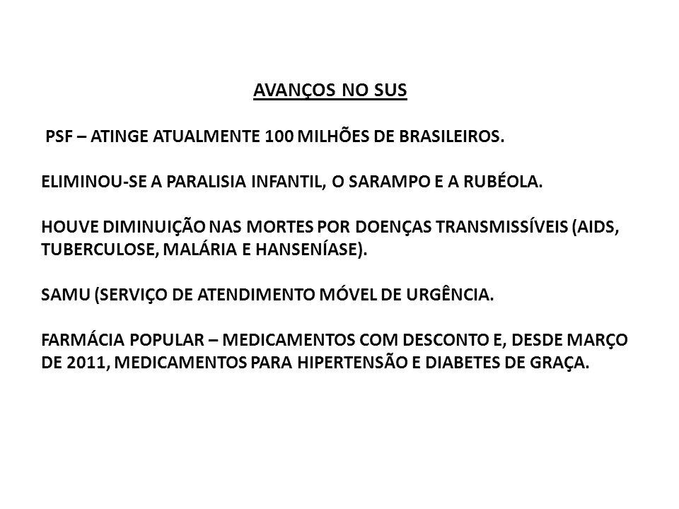 AVANÇOS NO SUS PSF – ATINGE ATUALMENTE 100 MILHÕES DE BRASILEIROS. ELIMINOU-SE A PARALISIA INFANTIL, O SARAMPO E A RUBÉOLA. HOUVE DIMINUIÇÃO NAS MORTE