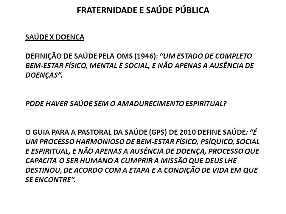 SAÚDE X DOENÇA DEFINIÇÃO DE SAÚDE PELA OMS (1946): UM ESTADO DE COMPLETO BEM-ESTAR FÍSICO, MENTAL E SOCIAL, E NÃO APENAS A AUSÊNCIA DE DOENÇAS. PODE H