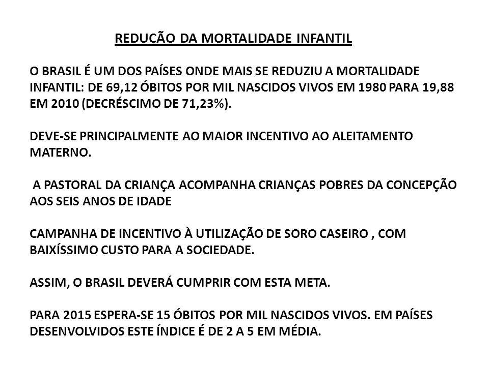 REDUCÃO DA MORTALIDADE INFANTIL O BRASIL É UM DOS PAÍSES ONDE MAIS SE REDUZIU A MORTALIDADE INFANTIL: DE 69,12 ÓBITOS POR MIL NASCIDOS VIVOS EM 1980 P