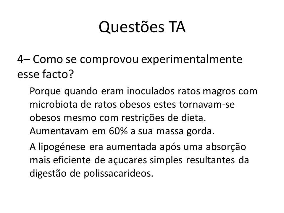 Questões TA 4– Como se comprovou experimentalmente esse facto? Porque quando eram inoculados ratos magros com microbiota de ratos obesos estes tornava