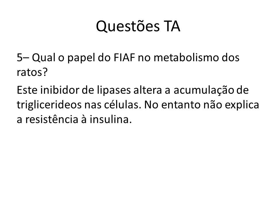 Questões TA 5– Qual o papel do FIAF no metabolismo dos ratos? Este inibidor de lipases altera a acumulação de triglicerideos nas células. No entanto n