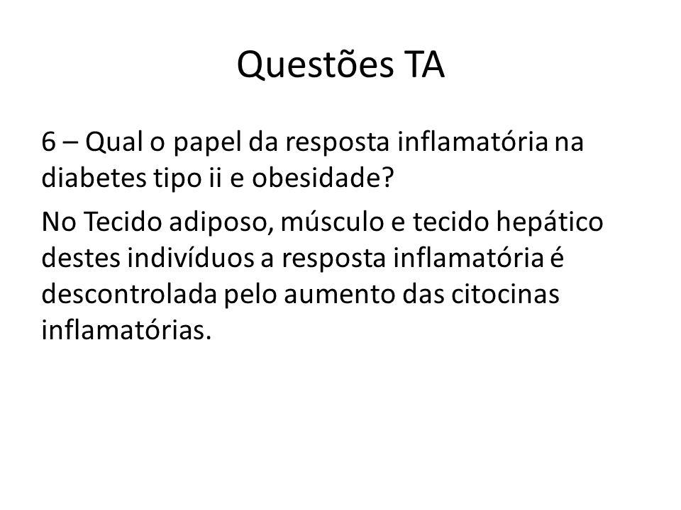 Questões TA 6 – Qual o papel da resposta inflamatória na diabetes tipo ii e obesidade? No Tecido adiposo, músculo e tecido hepático destes indivíduos