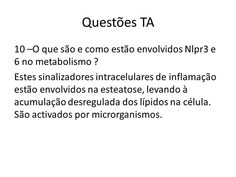 Questões TA 10 –O que são e como estão envolvidos Nlpr3 e 6 no metabolismo ? Estes sinalizadores intracelulares de inflamação estão envolvidos na este