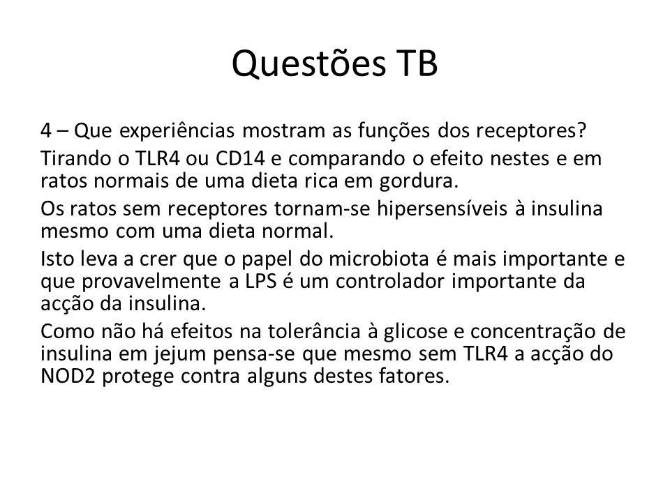 Questões TB 4 – Que experiências mostram as funções dos receptores? Tirando o TLR4 ou CD14 e comparando o efeito nestes e em ratos normais de uma diet
