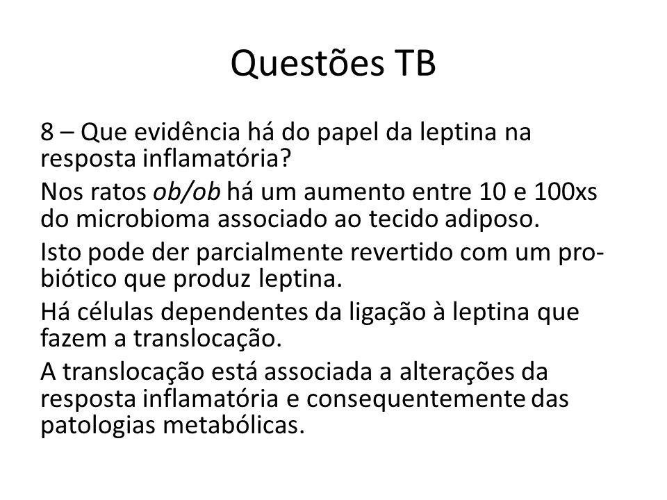 Questões TB 8 – Que evidência há do papel da leptina na resposta inflamatória? Nos ratos ob/ob há um aumento entre 10 e 100xs do microbioma associado