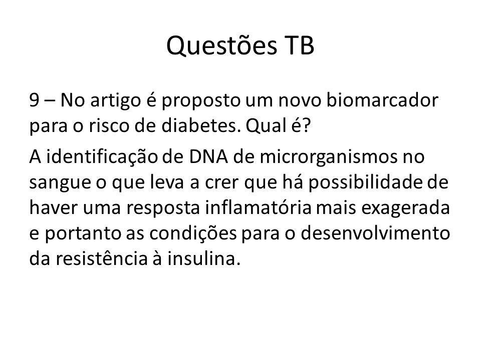 Questões TB 9 – No artigo é proposto um novo biomarcador para o risco de diabetes. Qual é? A identificação de DNA de microrganismos no sangue o que le