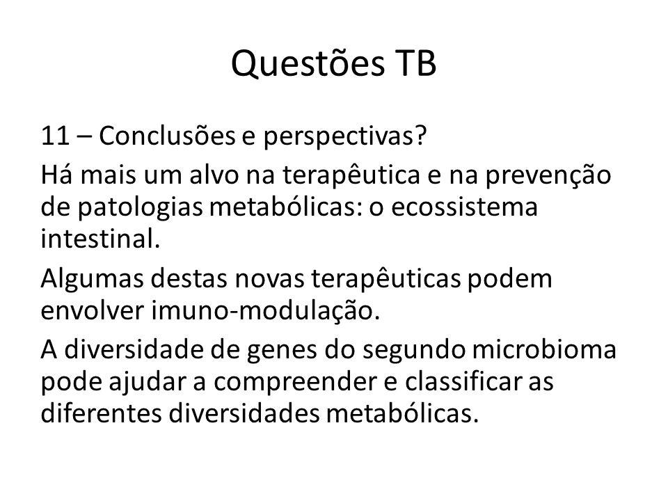 Questões TB 11 – Conclusões e perspectivas? Há mais um alvo na terapêutica e na prevenção de patologias metabólicas: o ecossistema intestinal. Algumas