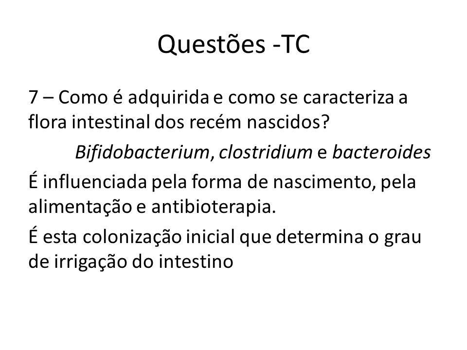 Questões -TC 7 – Como é adquirida e como se caracteriza a flora intestinal dos recém nascidos? Bifidobacterium, clostridium e bacteroides É influencia