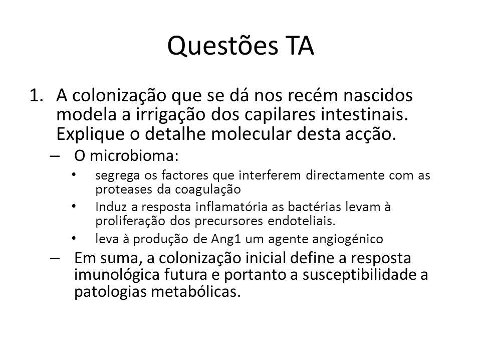 Questões TA 1.A colonização que se dá nos recém nascidos modela a irrigação dos capilares intestinais. Explique o detalhe molecular desta acção. – O m