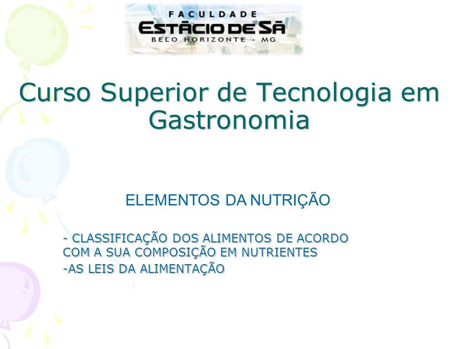 Curso Superior de Tecnologia em Gastronomia - CLASSIFICAÇÃO DOS ALIMENTOS DE ACORDO COM A SUA COMPOSIÇÃO EM NUTRIENTES -AS LEIS DA ALIMENTAÇÃO ELEMENT