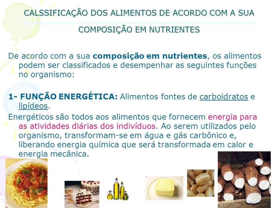 CALSSIFICAÇÃO DOS ALIMENTOS DE ACORDO COM A SUA COMPOSIÇÃO EM NUTRIENTES De acordo com a sua composição em nutrientes, os alimentos podem ser classifi