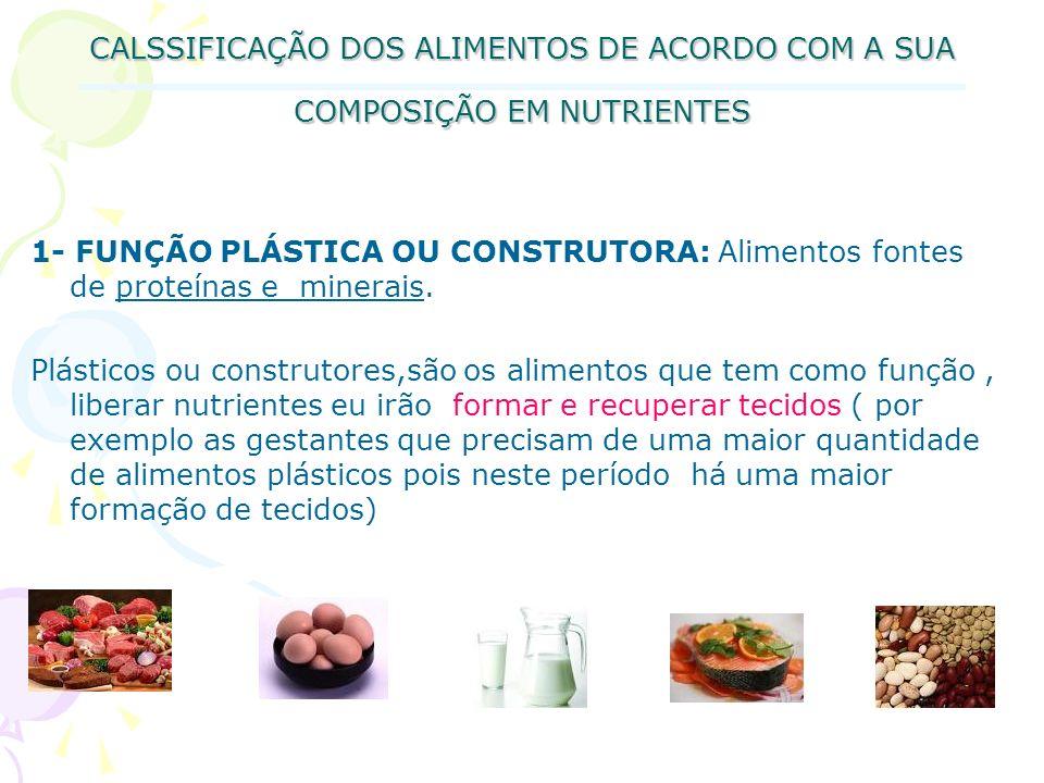 CALSSIFICAÇÃO DOS ALIMENTOS DE ACORDO COM A SUA COMPOSIÇÃO EM NUTRIENTES 1- FUNÇÃO PLÁSTICA OU CONSTRUTORA: Alimentos fontes de proteínas e minerais.