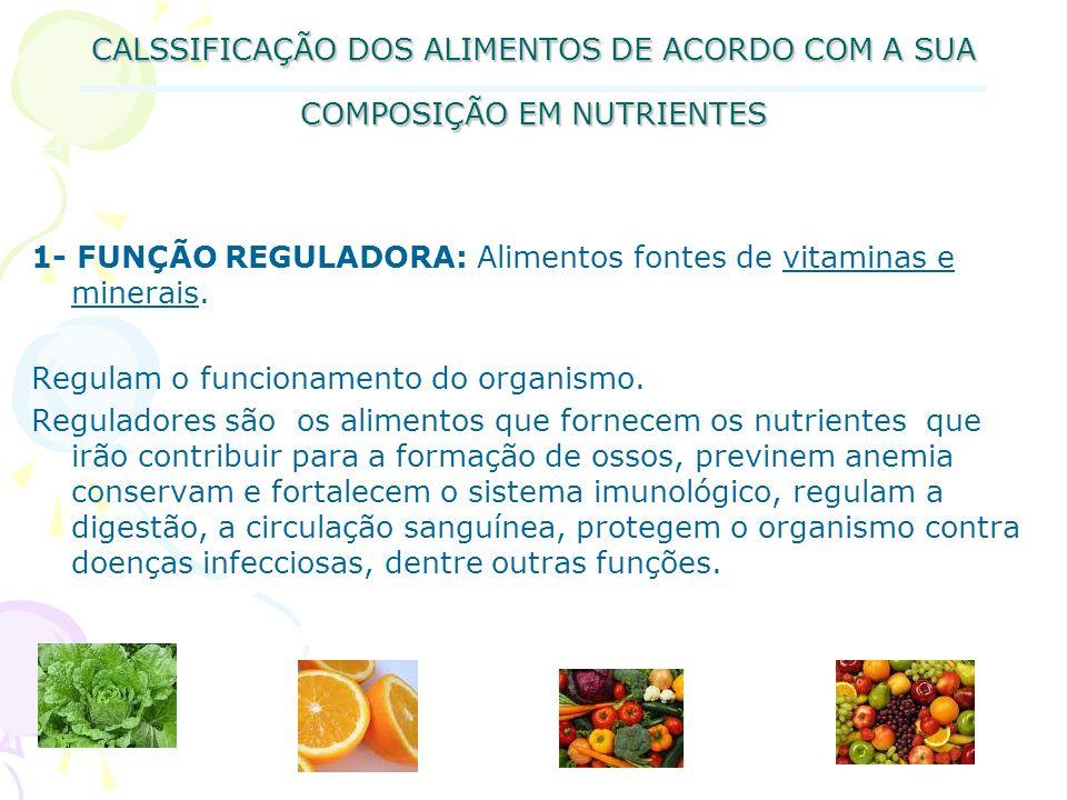 CALSSIFICAÇÃO DOS ALIMENTOS DE ACORDO COM A SUA COMPOSIÇÃO EM NUTRIENTES 1- FUNÇÃO REGULADORA: Alimentos fontes de vitaminas e minerais. Regulam o fun