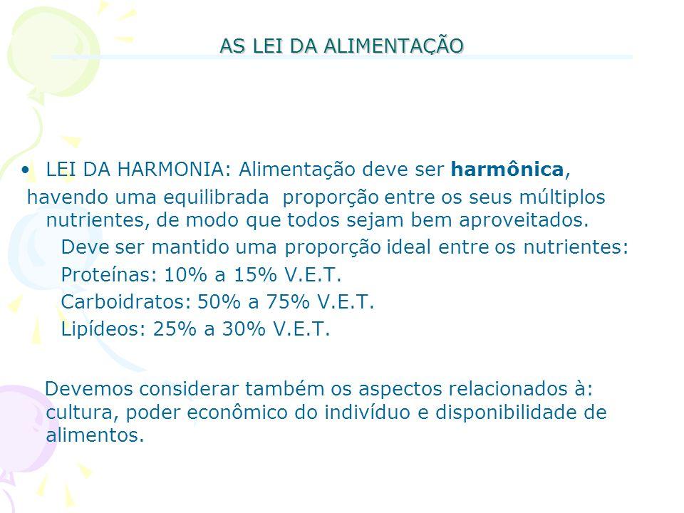 AS LEI DA ALIMENTAÇÃO LEI DA HARMONIA: Alimentação deve ser harmônica, havendo uma equilibrada proporção entre os seus múltiplos nutrientes, de modo q