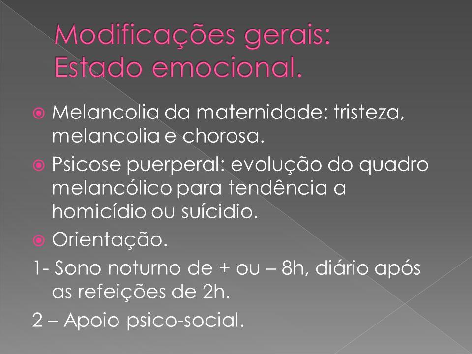 Melancolia da maternidade: tristeza, melancolia e chorosa. Psicose puerperal: evolução do quadro melancólico para tendência a homicídio ou suícidio. O