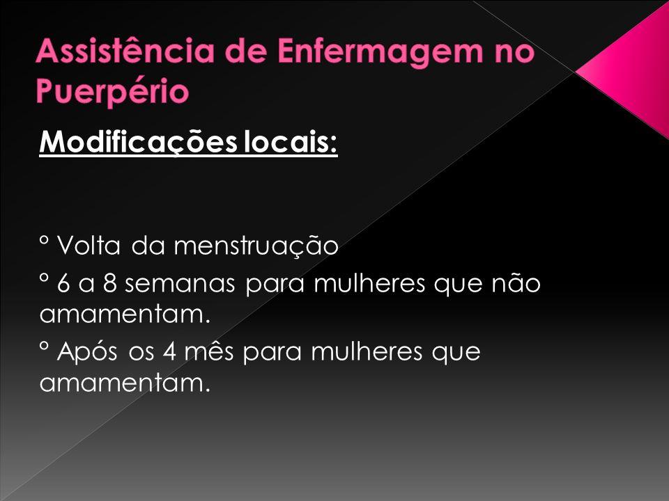 Modificações locais: ° Volta da menstruação ° 6 a 8 semanas para mulheres que não amamentam. ° Após os 4 mês para mulheres que amamentam.
