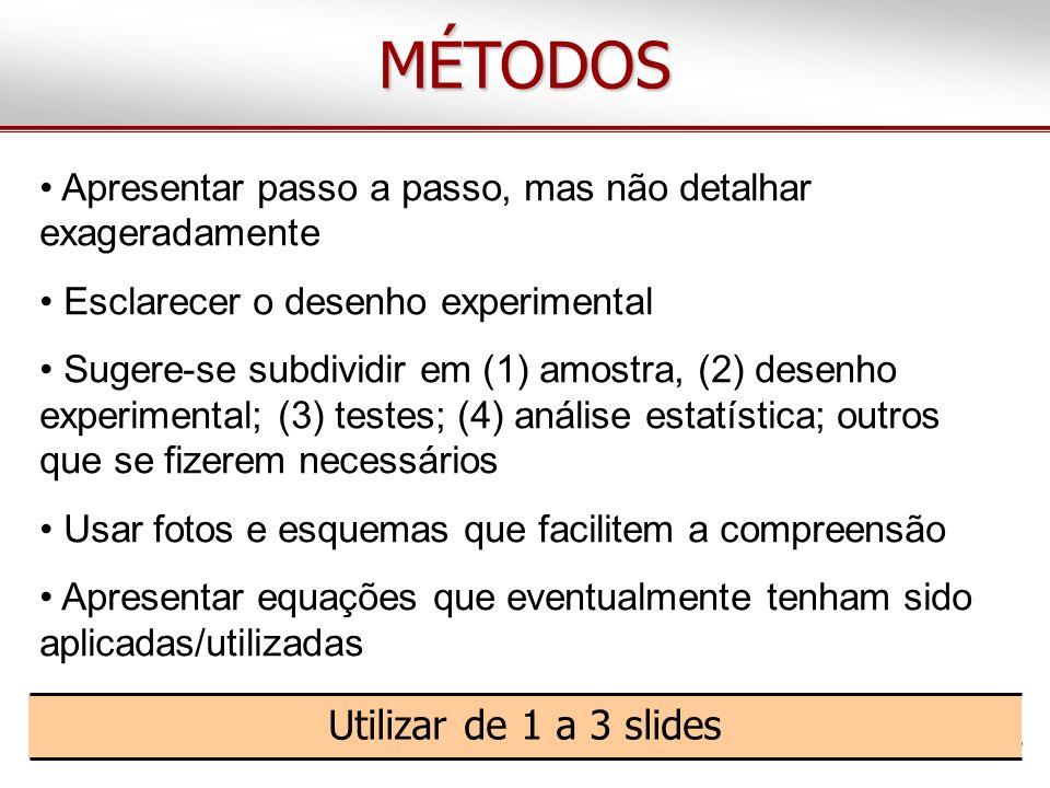 MÉTODOS Apresentar passo a passo, mas não detalhar exageradamente Esclarecer o desenho experimental Sugere-se subdividir em (1) amostra, (2) desenho e