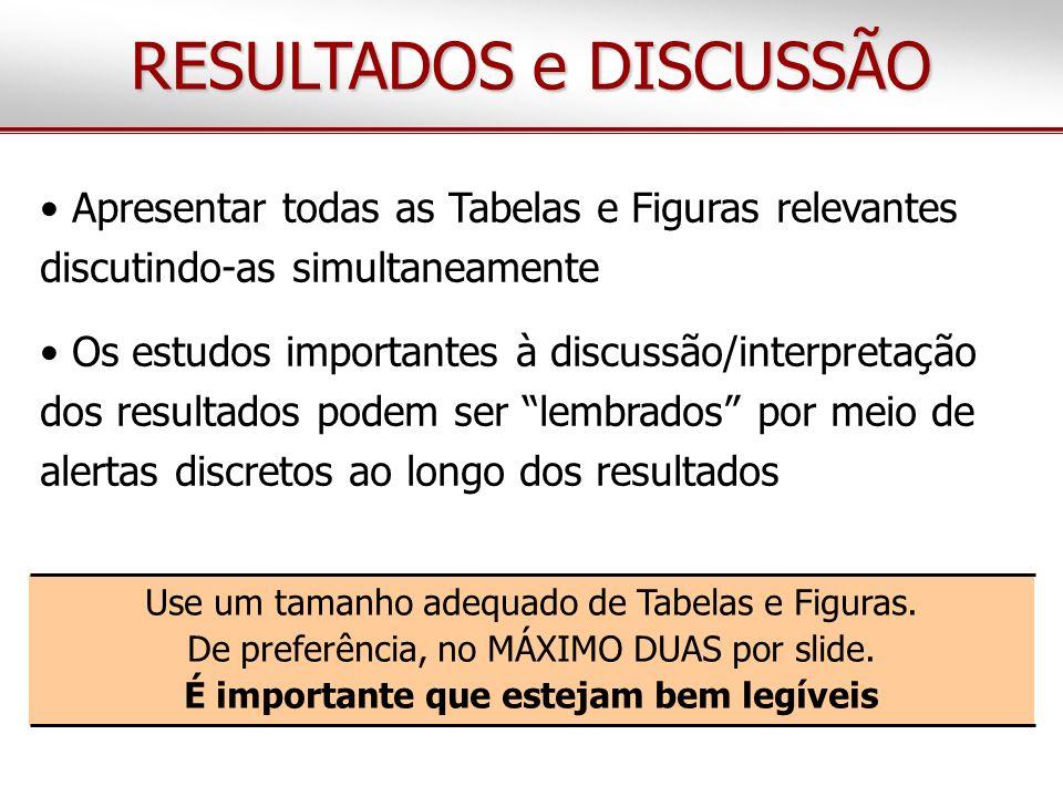 RESULTADOS e DISCUSSÃO Apresentar todas as Tabelas e Figuras relevantes discutindo-as simultaneamente Os estudos importantes à discussão/interpretação