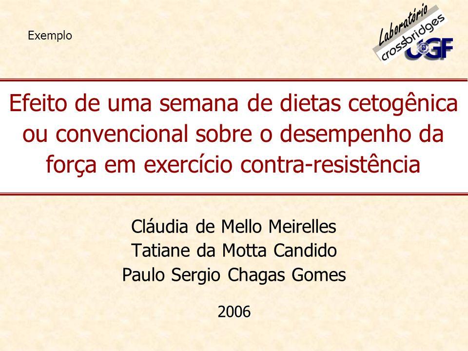 Efeito de uma semana de dietas cetogênica ou convencional sobre o desempenho da força em exercício contra-resistência Cláudia de Mello Meirelles Tatia