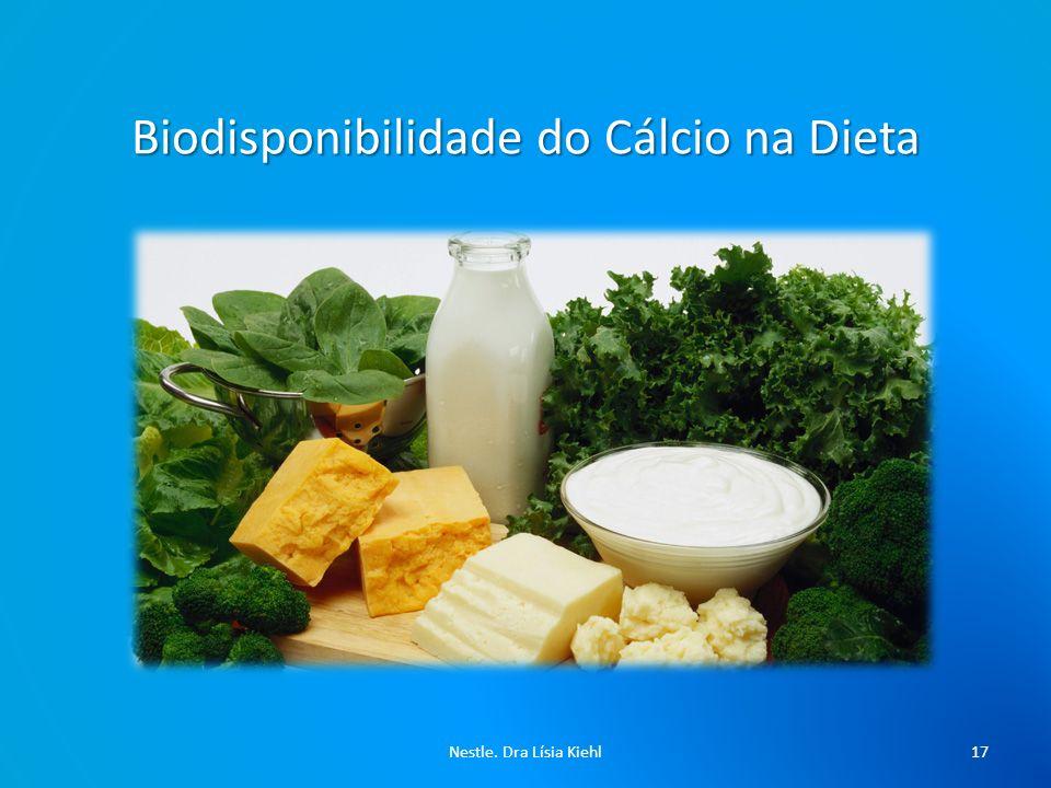 Biodisponibilidade do Cálcio na Dieta Ingestão de Ca (maior determinante da absorção).