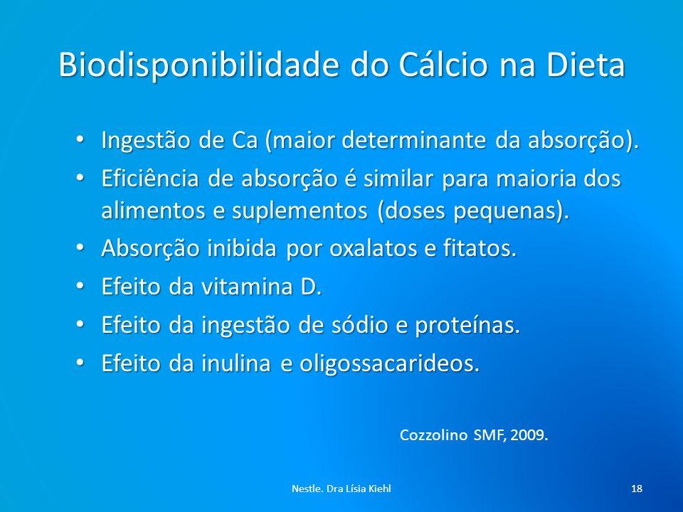 Biodisponibilidade do Cálcio na Dieta Nestle. Dra Lísia Kiehl19