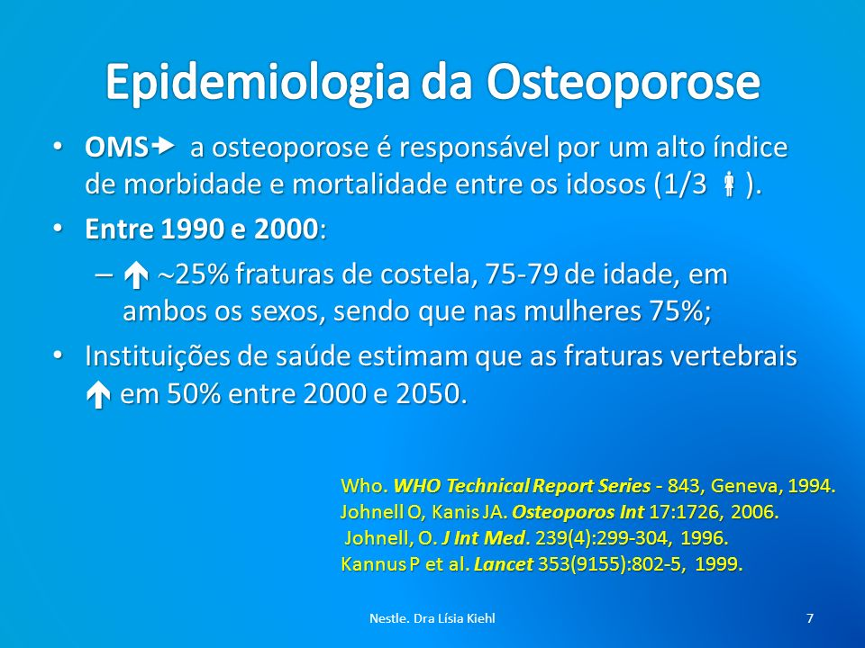 Osteoporose - Fatores de Risco Sexo feminino - Fratura prévia - Raça asiática ou caucásica - Idade maior que 65 anos em ambos os sexos - História materna de fratura ou osteoporose - Menopausa precoce (antes dos 40 anos) - Tratamento crônico com corticóide e anticonvulsivante - Doença reumática, especialmente a artrite reumatóide.