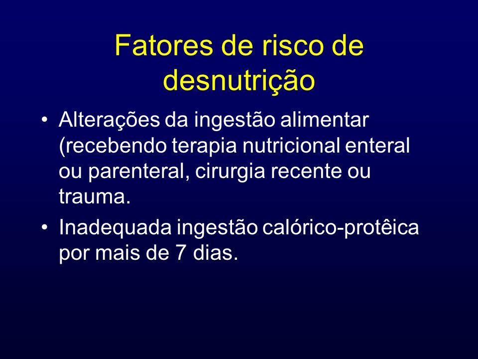 Fatores de risco de desnutrição Alterações da ingestão alimentar (recebendo terapia nutricional enteral ou parenteral, cirurgia recente ou trauma. Ina