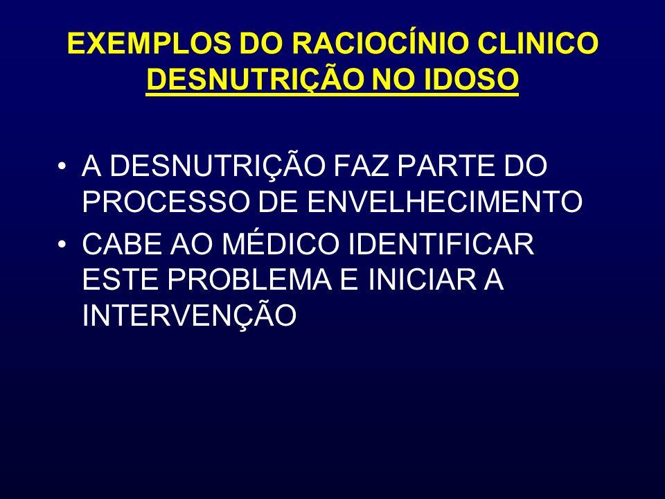 EXEMPLOS DO RACIOCÍNIO CLINICO DESNUTRIÇÃO NO IDOSO A DESNUTRIÇÃO FAZ PARTE DO PROCESSO DE ENVELHECIMENTO CABE AO MÉDICO IDENTIFICAR ESTE PROBLEMA E I
