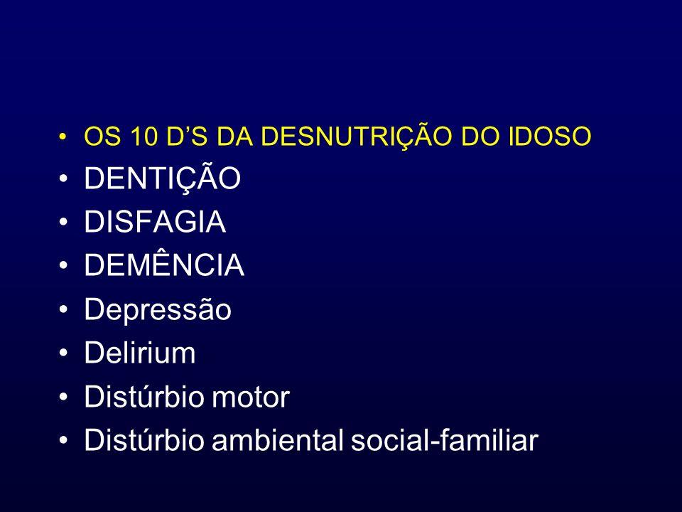 OS 10 DS DA DESNUTRIÇÃO DO IDOSO DENTIÇÃO DISFAGIA DEMÊNCIA Depressão Delirium Distúrbio motor Distúrbio ambiental social-familiar