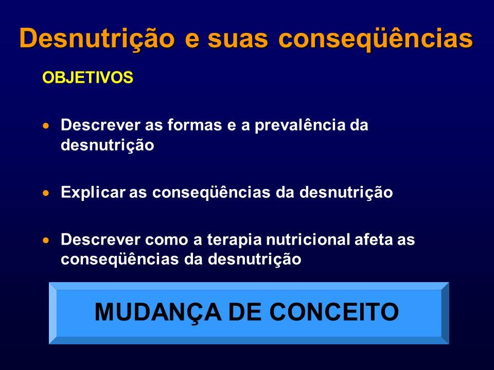OBJETIVOS Descrever as formas e a prevalência da desnutrição Explicar as conseqüências da desnutrição Descrever como a terapia nutricional afeta as co