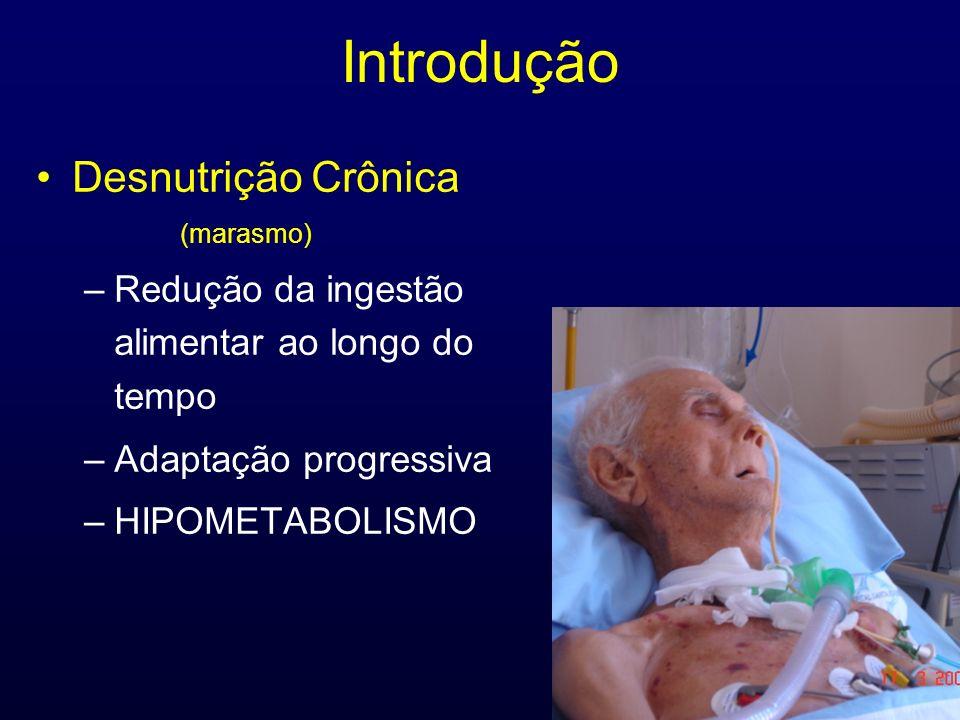 Introdução Desnutrição Crônica (marasmo) –Redução da ingestão alimentar ao longo do tempo –Adaptação progressiva –HIPOMETABOLISMO